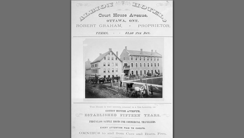 Albion Hotel,, 1875, with Carleton Court House wall in foreground