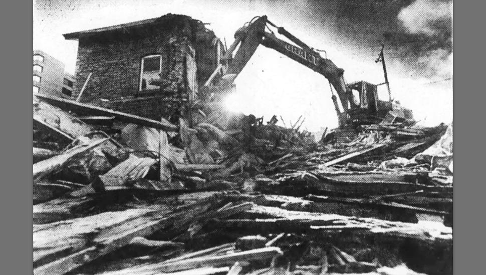 Clegg House demolition, October 27, 1979