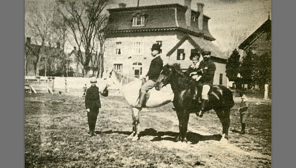 Colonel Panet with some of his children in front of Panet House
